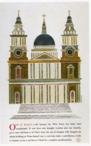 Vintage London underground poster - Old St. Paul's Cathedral